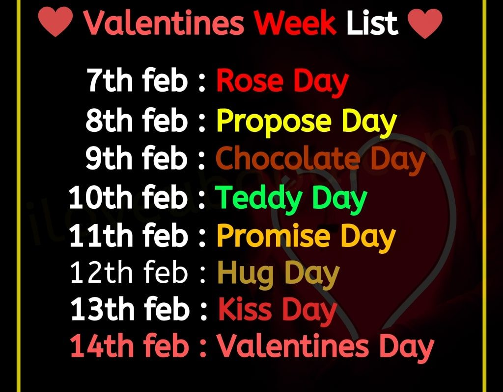 Valentines Week list 2020 Rose & Propose Day Special Shayari Images